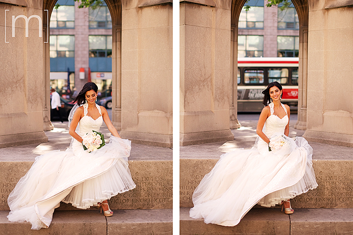 a wedding photo of the bride sitting at st james park toronto