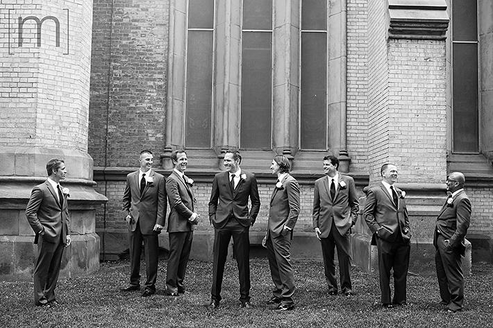a wedding photo of the groomsmen at berkeley field house toronto