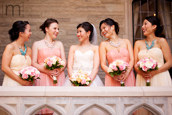 a wedding photo of the bridesmaids at casa loma toronto