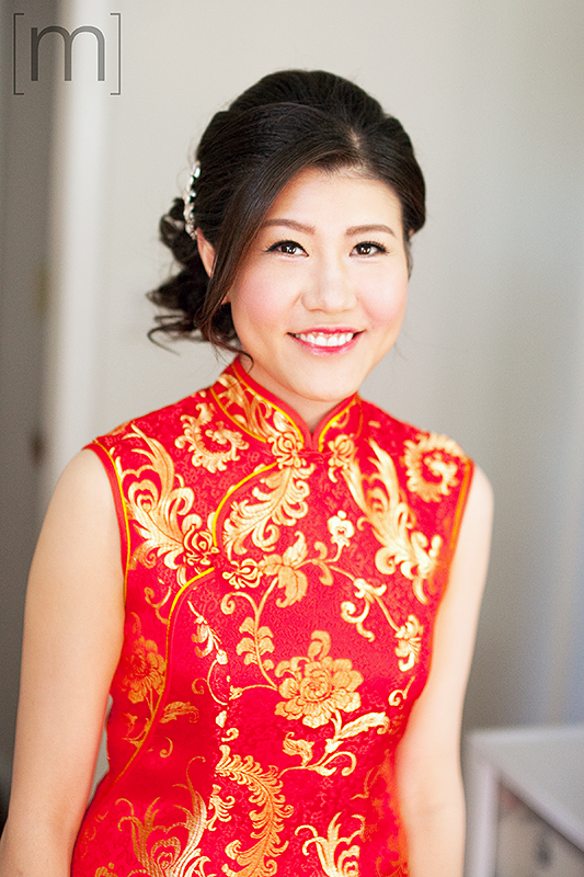a wedding photo of the bride at the tea ceremony at Auberge du pommier toronto