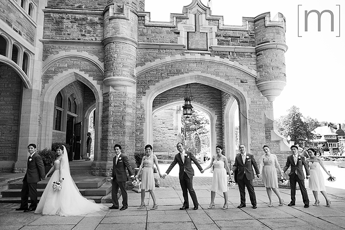a photo of the wedding party at casa loma toronto