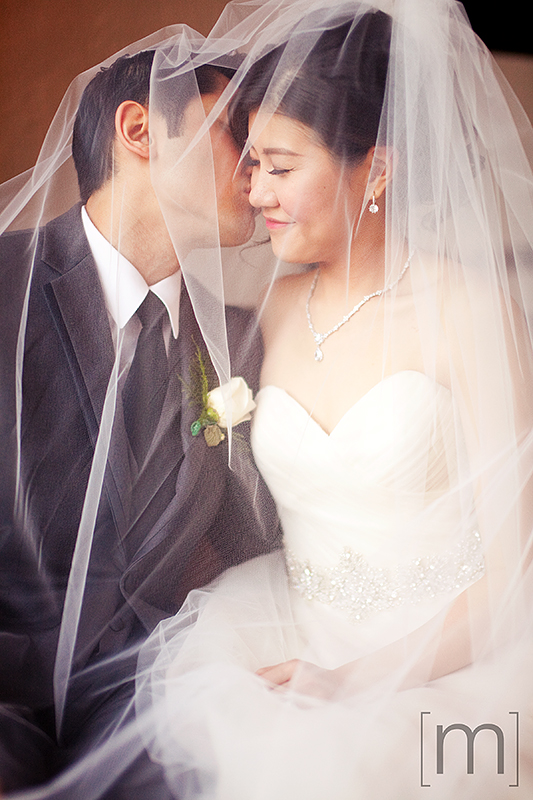 a wedding photo of the cute couple under the veil at casa loma toronto