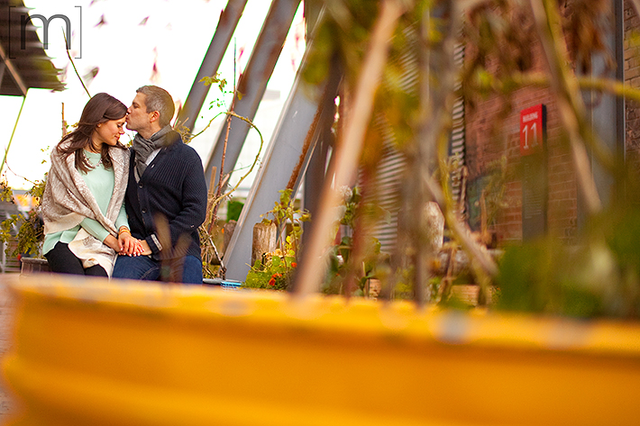 a photo of a couple kissing at a fall engagement at brickworks toronto