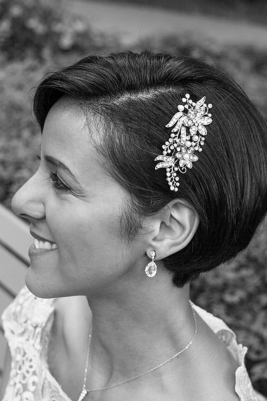 a photo of a bridal head piece at a wedding at st james park toronto
