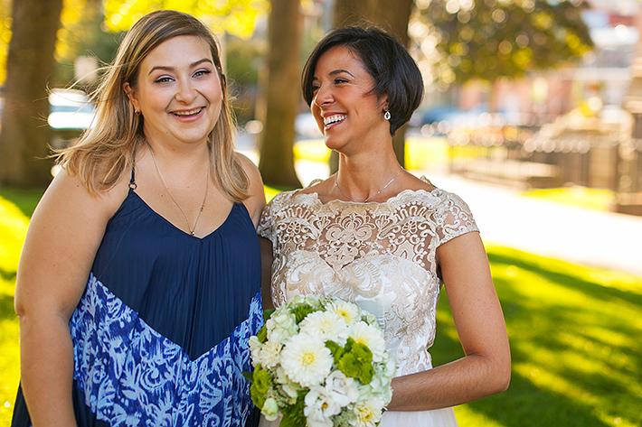 a photo of the bridesmaids at a wedding at st pauls basilica toronto