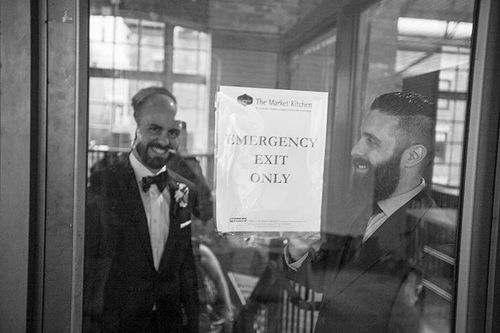 a photo of the groomsmen at a wedding at st lawrence market toronto