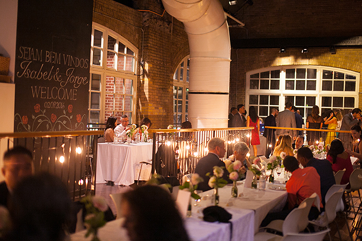 a photo of the reception at a wedding at st lawrence market toronto