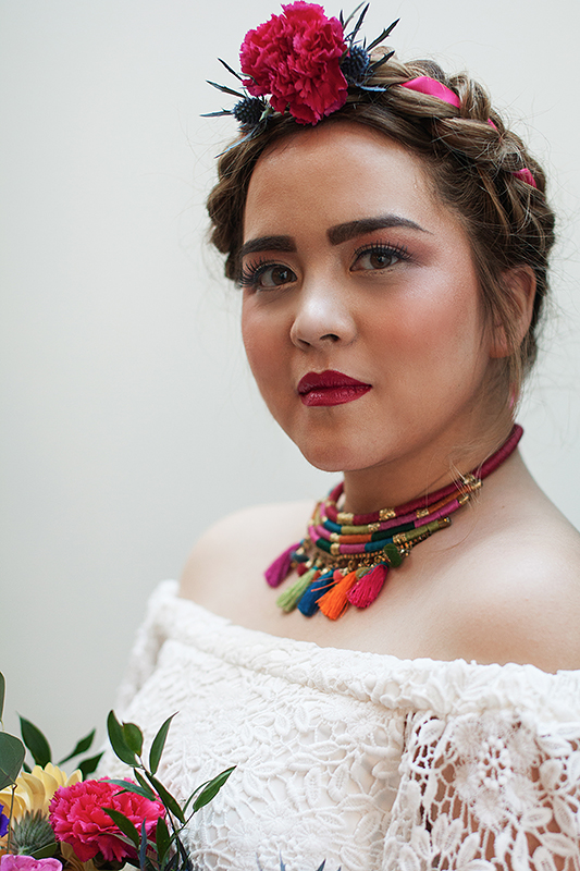 a bridal portrait with colourful braid at a frida inspiration wedding in vancouver