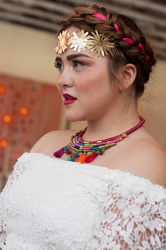 a bridal portrait with gold crown at a frida inspiration wedding in vancouver