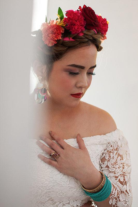 a bridal portrait at a frida inspiration wedding in vancouver