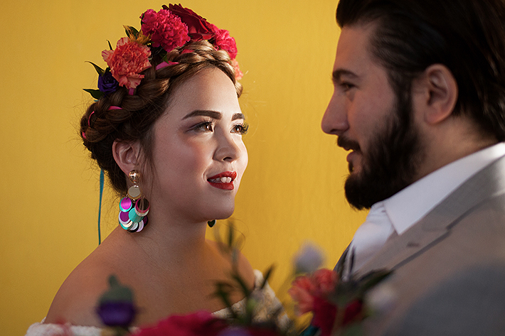 a photo of a bride and groom at a frida inspiration wedding in vancouver