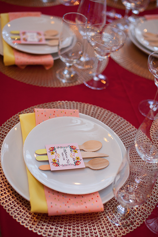 a photo of the table details multicoloured utensils at a frida inspiration wedding in vancouver
