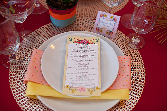 a photo of the table details invitation at a frida inspiration wedding in vancouver