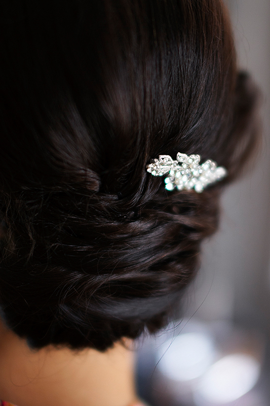 a photo of the bride's hair clip at king edward hotel at a wedding in toronto