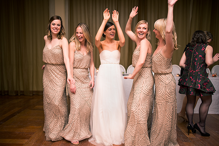 a photo of the bridesmaids dancing at a wedding reception at the rosewater toronto