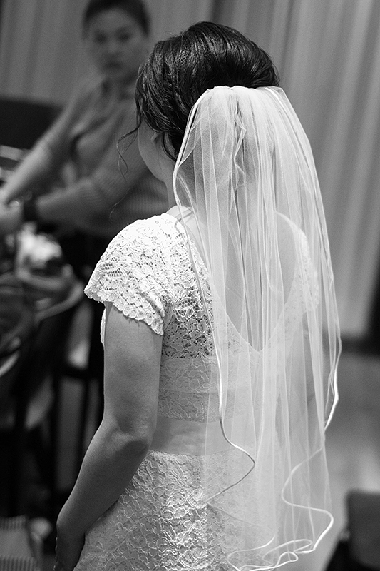 a photo of the back of a dress and veil at a wedding in toronto