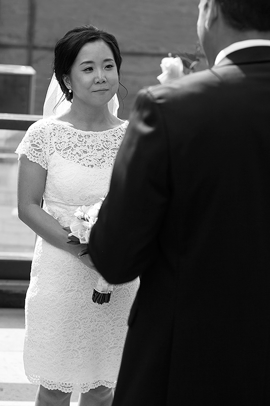 a photo of the emotional bride at a wedding ceremony at gusto restaurant in toronto