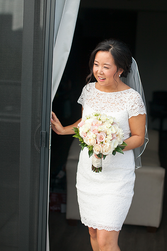 a photo of the first look with the happy bride at a wedding in toronto