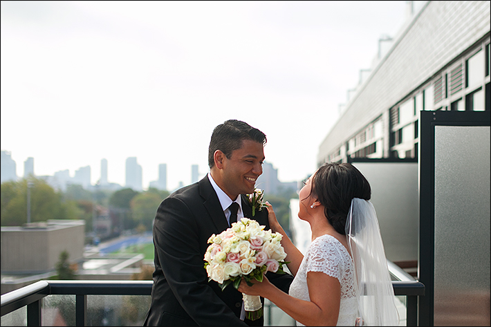 a photo of the happy couple at the first look at a wedding in toronto