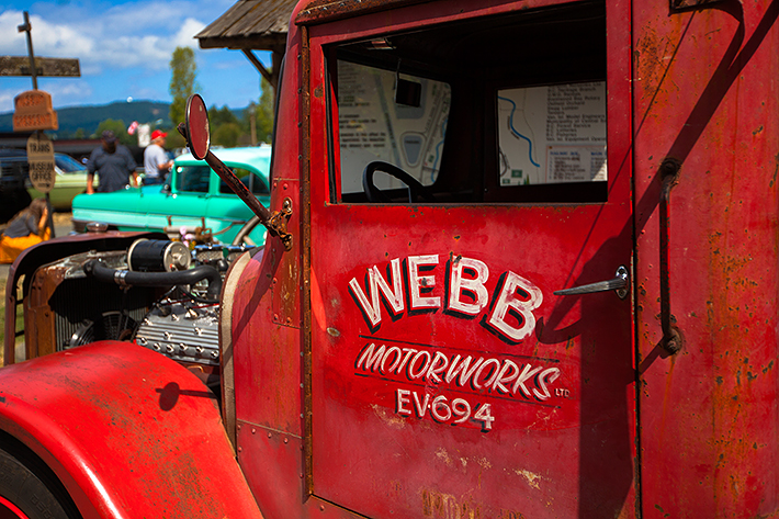 a travel photo of an abandoned truck at the antique car show at saanich museum in sidney british columbia