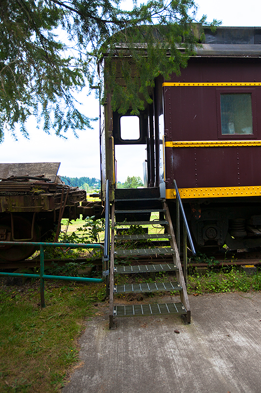 a travel photo of train steps at the antique car show at saanich museum in sidney british columbia