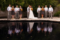 a wedding party photo at the arboretum in guelph ontario