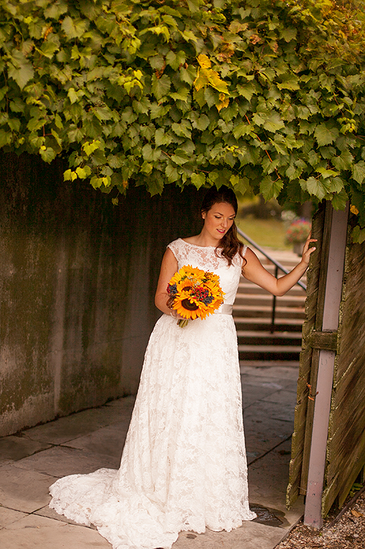 a wedding photo of a bride at the arboretum in guelph ontario
