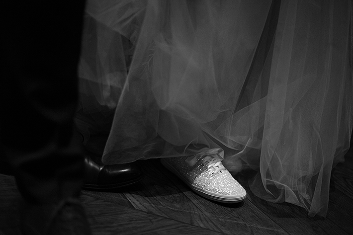 a summer wedding of the bride's sparkly tennis shoes in vancouver british columbia