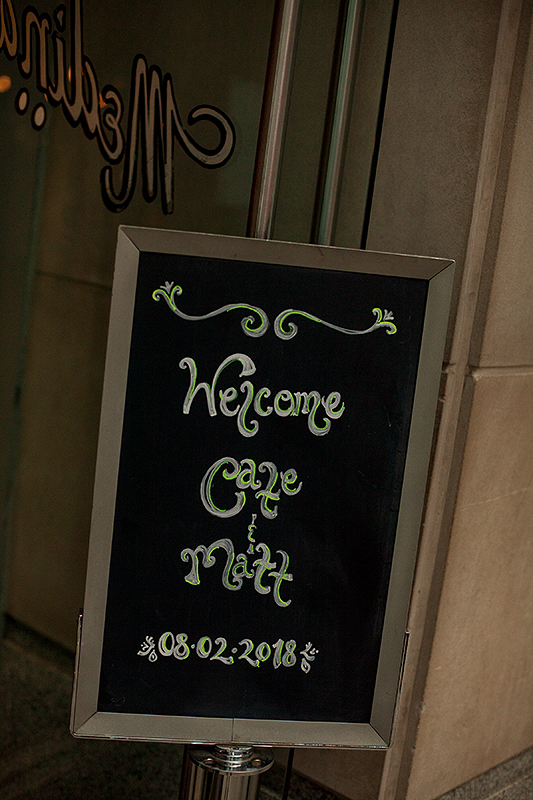 a summer wedding photo of the welcome sign at medina cafe vancouver british columbia