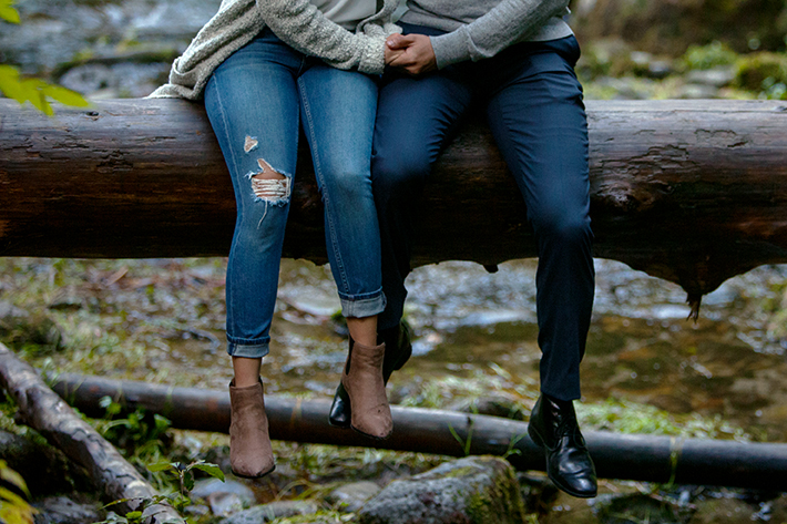 a photo of a engagement shoot at lynn valley canyon bc