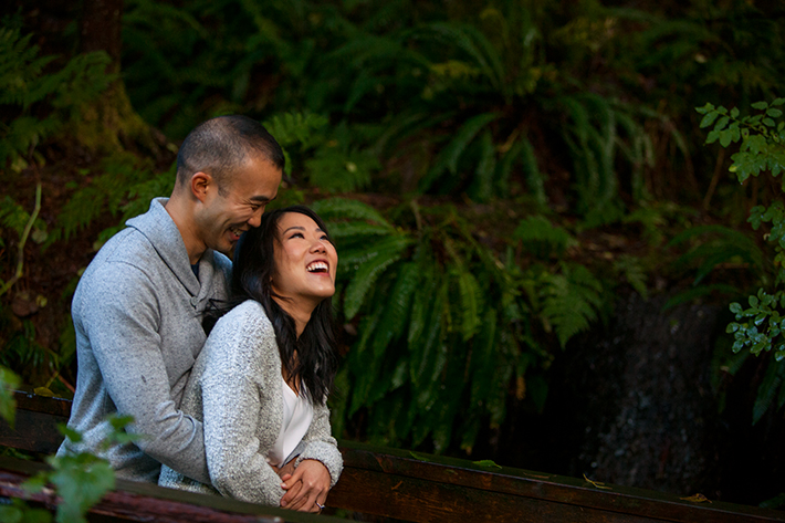 a  photo of a couple at an engagement shoot at Lynn valley British Columbia