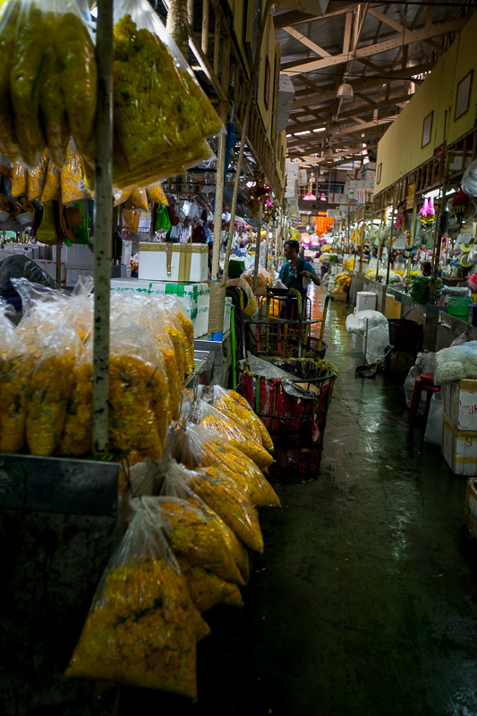 a travel photo of the flower market in bangkok thailand
