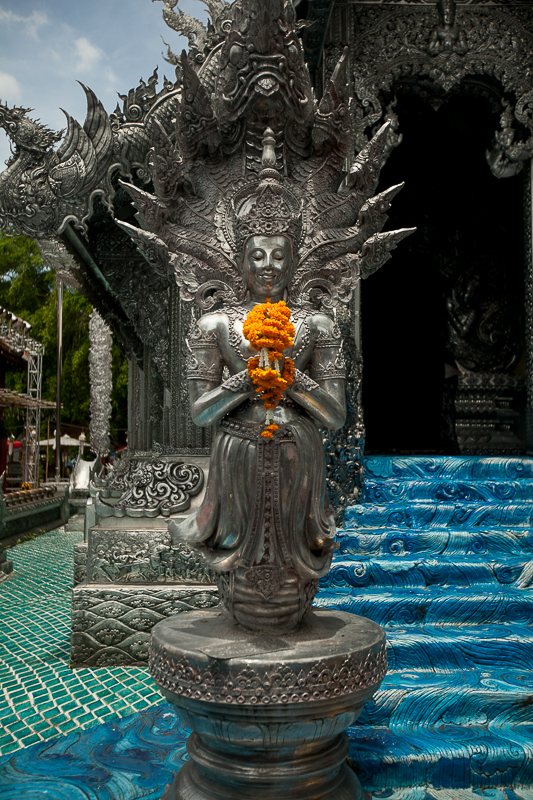 a travel photo of the silver temple in chaing mai thailand