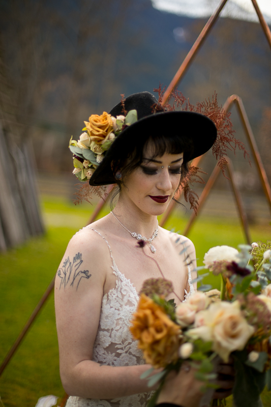 a styled wedding of a bride in pemberton british columbia