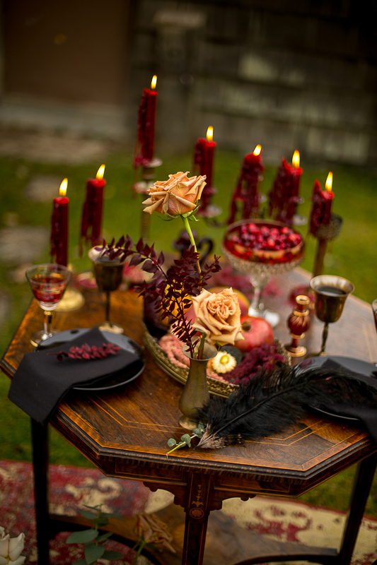 a styled wedding of a table with burnaby candles in the autumn pemberton british columbia