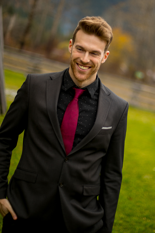 a styled wedding of the groom smiling in pemberton british columbia