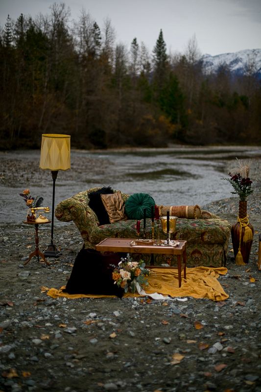 a styled wedding of setup on the rocky beach in autumn pemberton british columbia