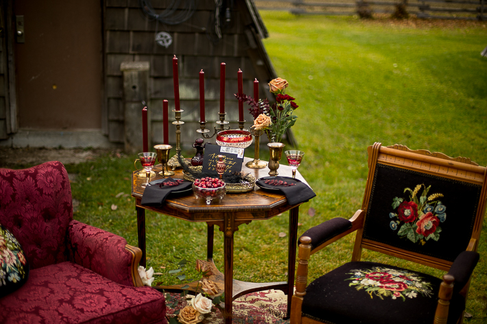 a styled wedding table of burnaby chairs and candles in the autumn pemberton british columbia