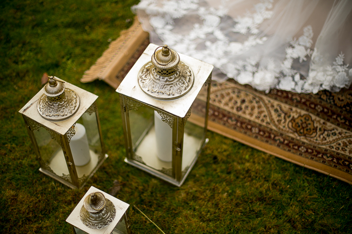 a styled wedding of the white candles and a moroccan carpet in pemberton british columbia