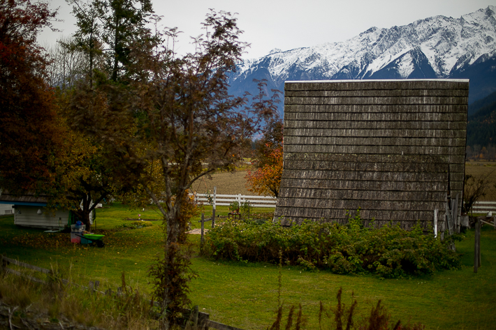 a styled wedding of the small wooden pointed cottage with mountains in autumn pemberton british columbia