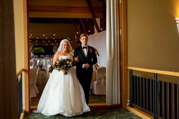 a fall wedding of the ceremony with her son at the westwood plateau golf club coquitlam british columbia