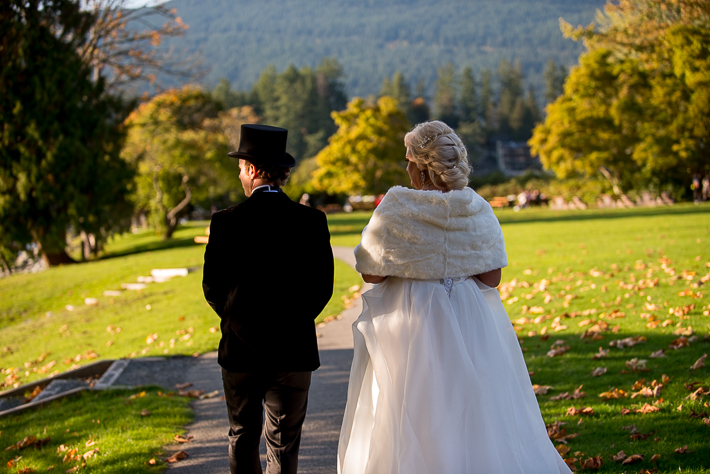 a fall wedding of a couple at the salon westwood plateau golf club coquitlam british columbia