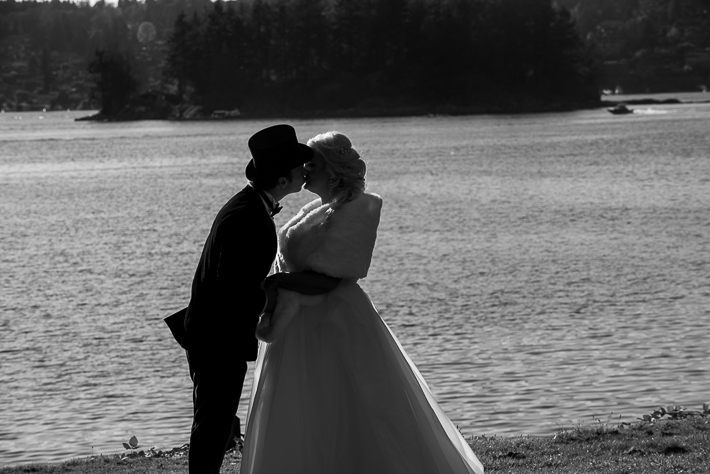 a fall wedding of the couple at dusk at the westwood plateau golf club coquitlam british columbia