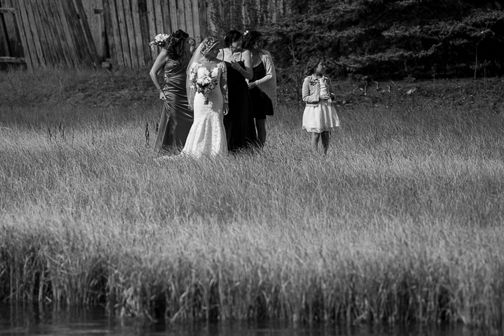 a summer wedding party photo on the policeman's boardwalk in tall grass canmore alberta