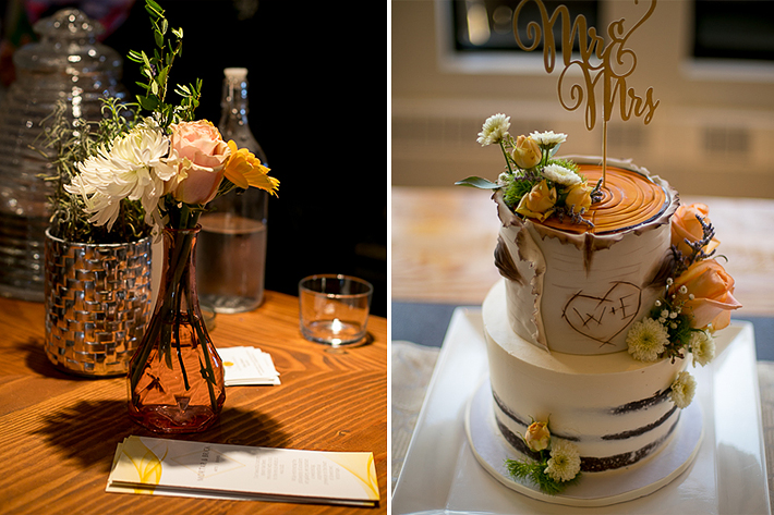a summer wedding cake table details in the hive gallery canmore alberta