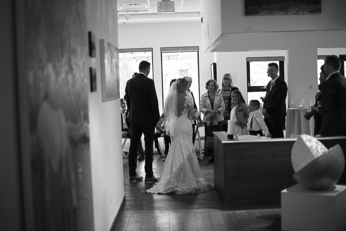 a summer wedding reception of the couple in the hive gallery canmore alberta