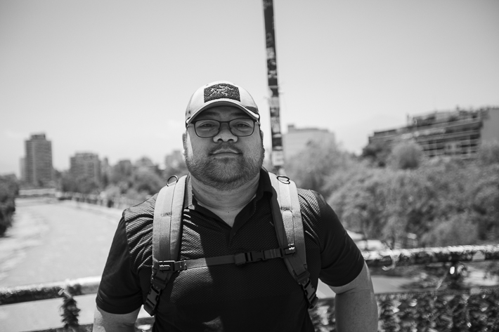 a travel photo my husband during the wage protests in santiago, chile, south america