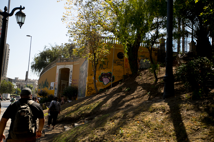 a travel photo of a heritage building during the wage protests in santiago, chile, south america