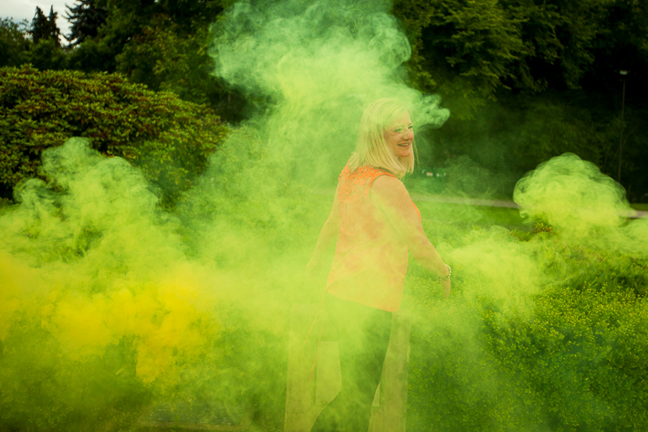 a summer engagement with smoke bombs at deer lake park burnaby british columbia